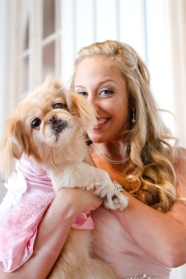 Puppy in a wedding party Couture Pink Ombre Bridal Gown South Florida Wedding Photographer Lighthouse Point Yacht Club wedding photographer