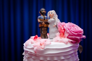 Game of Thrones wedding cake toppers Couture Pink Ombre Bridal Gown South Florida Wedding Photographer Lighthouse Point Yacht Club wedding photographer