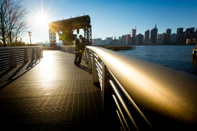 Golden hour Long Island City New York Engagement Session Locations with a view of NYC