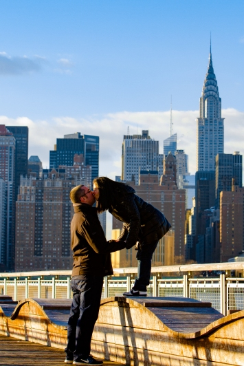 Long Island City New York Engagement Session Locations with a view of NYC