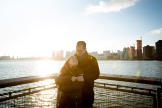 Golden Hour on the water Long Island City New York Engagement Session Locations with a view of NYC