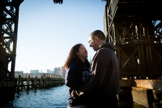 Pier Engagement Photos Long Island City New York Engagement Session Locations with a view of NYC