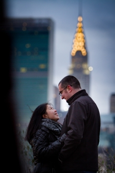 Chrysler building photo ops Long Island City New York Engagement Session Locations with a view of NYC