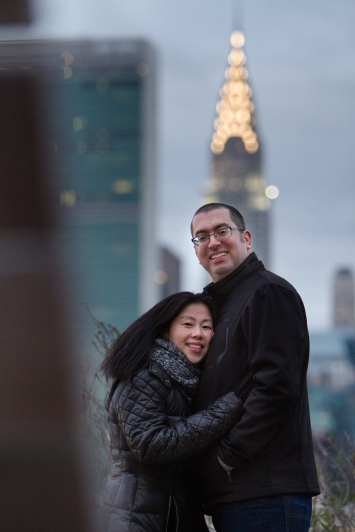 Chrysler Building Long Island City New York Engagement Session Locations with a view of NYC