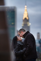 Chrysler Building Portraits Long Island City New York Engagement Session Locations with a view of NYC
