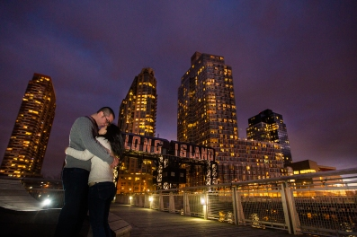 Long Island City Piers Long Island City New York Engagement Session Locations with a view of NYC
