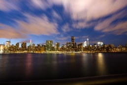 Blue hour time lapse Long Island City New York Engagement Session Locations with a view of NYC