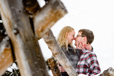 Snowy Swan Mountain Colorado engagement photo session