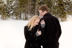 Curly hairstyles for a Snowy Swan Mountain Colorado engagement photo session