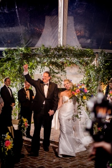 Ceremony Exit in the rain Crazy Fun New Orleans Wedding at Il Mercato