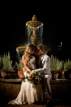Night photography with the moon and fountain Best Houston Wedding Venue Photographer