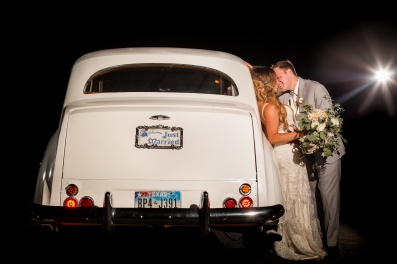 Vintage car getaway boho bouquet Best Houston Wedding Venue Photographer