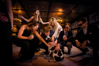 Puppy at a wedding reception Rainey Street Austin Wedding at Hotel Van Zandt Made with Magmod