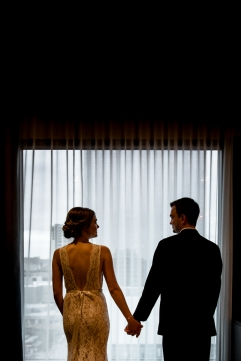 Silhouette Wedding Portraits Rainey Street Austin Wedding at Hotel Van Zandt Made with Magmod