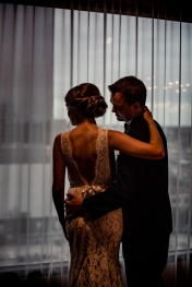 Dramatic Wedding portraits Rainey Street Austin Wedding at Hotel Van Zandt Made with Magmod