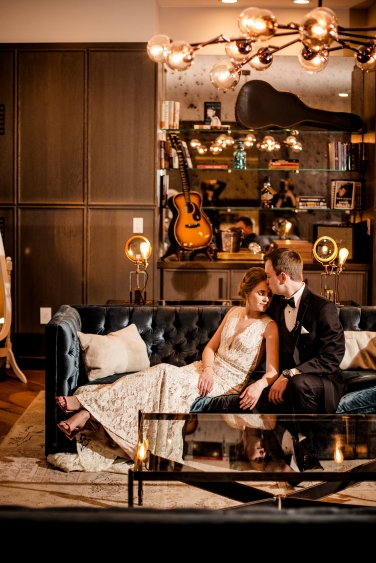 Dramatic and classic bride and groom portraits Rainey Street Austin Wedding at Hotel Van Zandt Made with Magmod