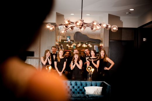 First Look with wedding party Rainey Street Austin Wedding at Hotel Van Zandt Made with Magmod
