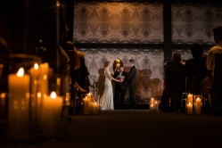 Candle lit wedding ceremony Rainey Street Austin Wedding at Hotel Van Zandt Made with Magmod